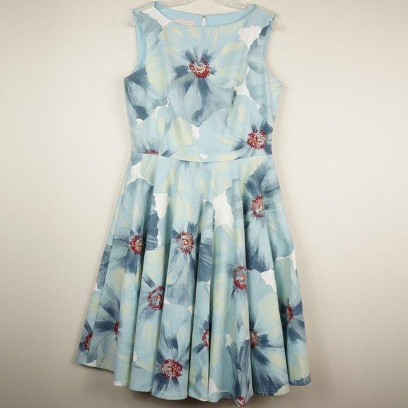 Emily Hallman Dresses & Skirts - Emily Hallman Millie Dress Blue White Red Floral